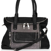 MULTI ZIP SIDE PANEL LEATHER TOTE BAG