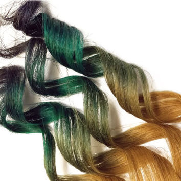 #27 root Teal Green Blue 100% Human Hair Clip In Ombre Dip Dye Extensions Kawaii