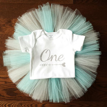 Aqua blue teal cream Tutu Dress Skirt, Glitter One Arrow heart Onesuit, First birthday outfit, baby girl clothes, Tulle skirt, Personalized