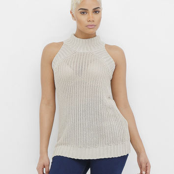 C'EST LA VIE SLEEVELESS KNIT SWEATER - TAUPE