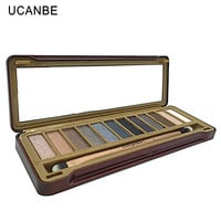 UCANBE Brand professional 12pcs makeup brushes 12 color smoky earth eye shadow Naked makeup eyeshadow palette with brush kit set