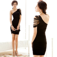 Sexy Elegant Womens Tassels Asymmetric One Shoulder Micro Mini Dress