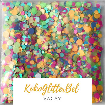 Holographic Neon Glitter Mix Dots - Vacay