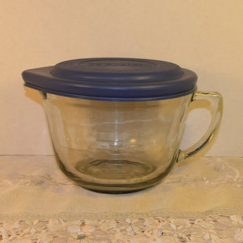 Anchor Hocking 8 Cup Measuring Bowl Lid Vintage 2 QT Batter Bowl with Lid Storable Mixing Bowl AH Mix & Store Glass Bowl Dishwasher Safe