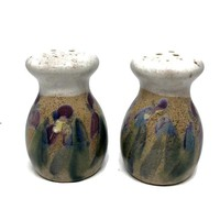 Studio Pottery Salt and Pepper Shakers Abstract Iris Motif, Earthenware Shaker Set Impressionist Flowers, Hand Made Ceramic Shakers,