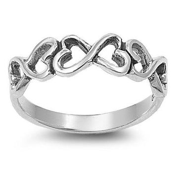 Sterling Silver Infinity Heart Ring Size 49