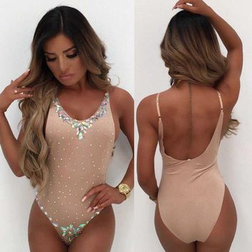 Jeweled Swimsuit -Nude