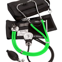 Prestige Medical A2 Aneroid Blood Pressure Unit Black with Neon Stethoscope, Neon Green