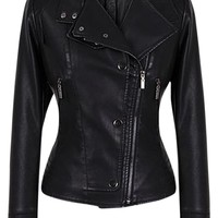 Single Breasted Zippers Beam Waist Pu Solid Color For Women Leather Jacket 30% off retail