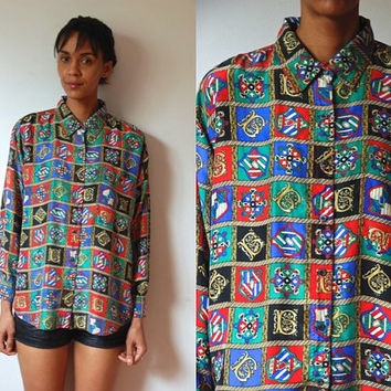 Vtg Silk Crest Print Green Red Blue Gold LS Buttoned Shirt