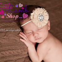 Tan caramel Flower Hair Band, hairclips, Couture Baby Headband, newborn hair band, Newborn photography props - vintage couture boutiq
