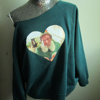 Buddy The Elf  Off The Shoulder Christmas Party Sweatshirt
