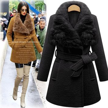 Plus Size Women Winter New Fashion Warm Thick Sold Color Flocking Long Fur Cony Hair Collar Woolen Coat With Sash Overcoat