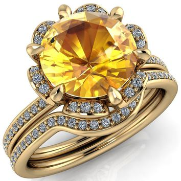 Daisy Round Yellow Sapphire Floral Diamond Basket Design and Diamond Shoulders Ring