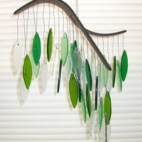 Spring green glass wind chime by gallerybyharvestgold on Etsy