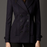 Leather Detail Wool Cashmere Pea Coat