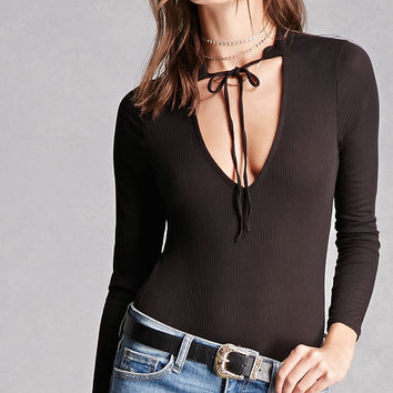 Honey Punch Tie-Neck Bodysuit