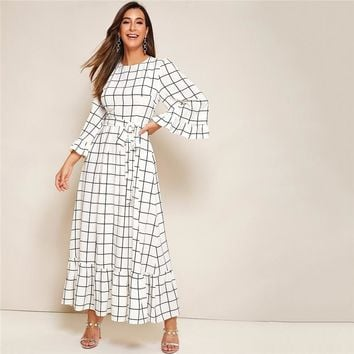 Abaya Bell Sleeve Flounce Hem Grid Belted Maxi Dress Women Zip Back Round Neck Elegant A Line Plaid Modest Dresses