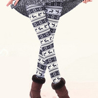 Black and White Snowflake Deer Print Velvet Leggings