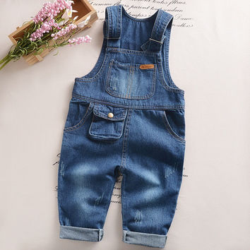 Autumn spring baby denim overalls Boy's Girl's Jumpsuit brand kids bib pants children's pocket trousers babies blue rompers
