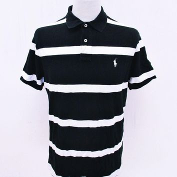 Retro Ralph Lauren Stripy Black White Polo T-Shirt Large WEAR