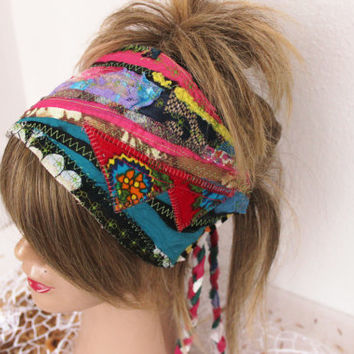 Hippie Headband, Colors Headband, Hippie Head, Wear Festival, Colors Dread Band, Dread Wrap Women's Christmas gift, Intergalactic Clothing