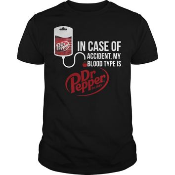 In case of accident my blood type is Dr pepper classic shirt Premium Fitted Guys Tee