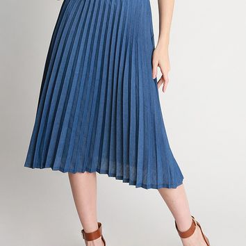 Ana Denim Pleated Midi Skirt | Ruche