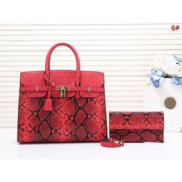 Hermes Fashion New Snake Texture Print Leather Shoulder Bag Women Handbag Two Piece Suit 6#