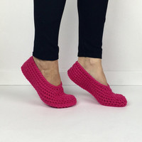 Women's Crochet Hot Pink Ballet Slippers, knit slippers, crochet flats, crochet house shoes, crochet ballet flats, neon pink slippers