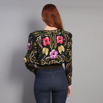 80s SEQUIN Bolero JACKET / Cropped Jewel Tone FLORAL Silk, xs-s
