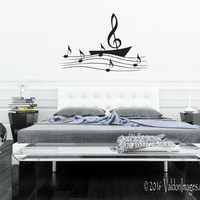 Sail boat music note wall decal, music wall decal, dorm room decor, bedroom wall decal, living room wall decal, teen room decor, boat decal
