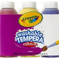 Crayola 3 Count 8-Ounce Artista II Washable Tempera Primary Color Set