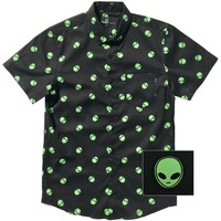Alien Print Button Up Shirt