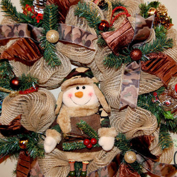 Christmas Camouflage Snowman Deco Mesh by KraftyKreations4You