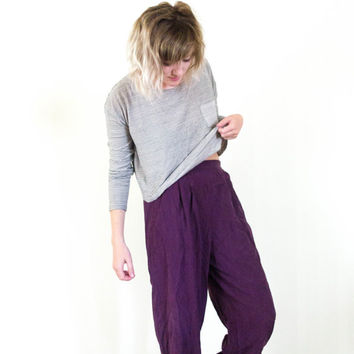 vtg 90s high waisted purple silk harem pants, stretch high waist slouchy, art hoe, aesthetic, tumblr urban soft grunge, vaporwave 1980s
