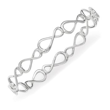 Rhodium Plated Sterling Silver Diamond Infinity Bangle Bracelet