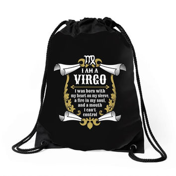 I Am A Virgo Drawstring Bags