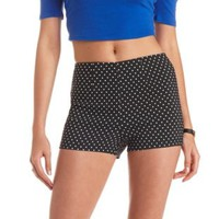 Stretchy Polka Dot High-Waisted Shorts - Black/White
