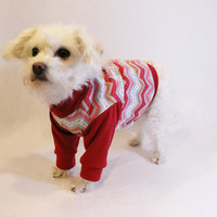 RockinDogs Red and Gray Chevron Knit Dog Shirt