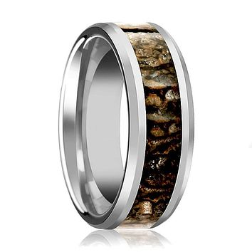 CHOMPER Silver Tungsten Carbide Couple Matching Ring with Brown Dinosaur Bone Inlay & Bevels - 4MM - 8MM
