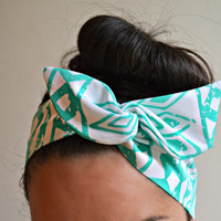 Mint tribal Dolly bow Headband, hair bow head band