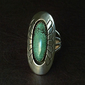 Gene Martha JACKSON Vintage Native American Navajo Ring SPIDER WEB Turquoise Sterling Silver 10.5 Grams Size 9.5 Hallmarks