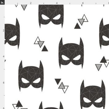 Bat Mask Childrens Fabric by the Yard Cotton Fabric Organic Cotton Baby Minky Jersey Knit Fleece Batman Super Hero Fabric Boys Room 6230499