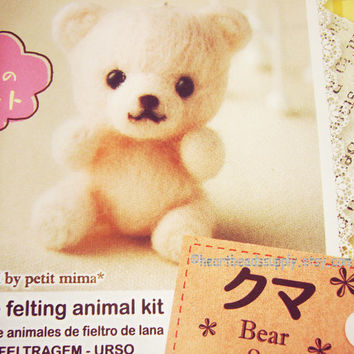 Diy Needle felting kit - Teddy Pink Bear, with needle, easy, keychain felt charm, craft kit tool, beginner, id1360438 gift for crafter