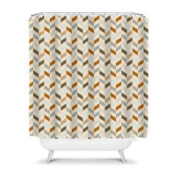 Pattern Shower Curtain Monogram Chevron Earth Tones Beige Tan Bathroom Bath Polyester Made in the USA