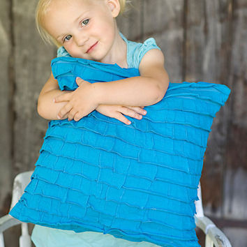 Decorative Turquoise Ruffle Pillow 14x14 or by lollipoppillows