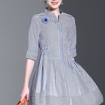 Blue White Stripe Dress W/ SD Flower