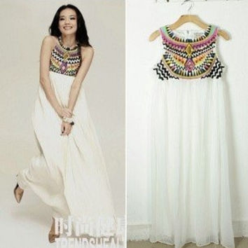 New fashion Sequins Chiffon Maxi Dresses Embroidery Bohemian Beach Long Dress vintage elegant party evening dress = 1928508228