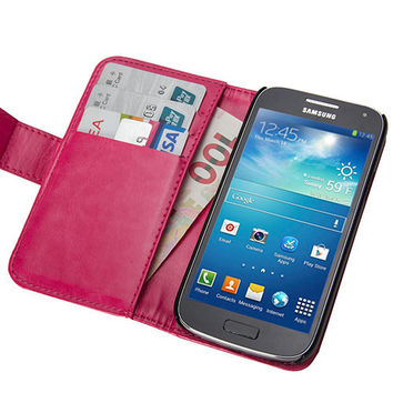 Wallet Case Square (Crazy Horse Back Lock) for Samsung Galaxy S4 Mini - Samsung Galaxy S4 Mini